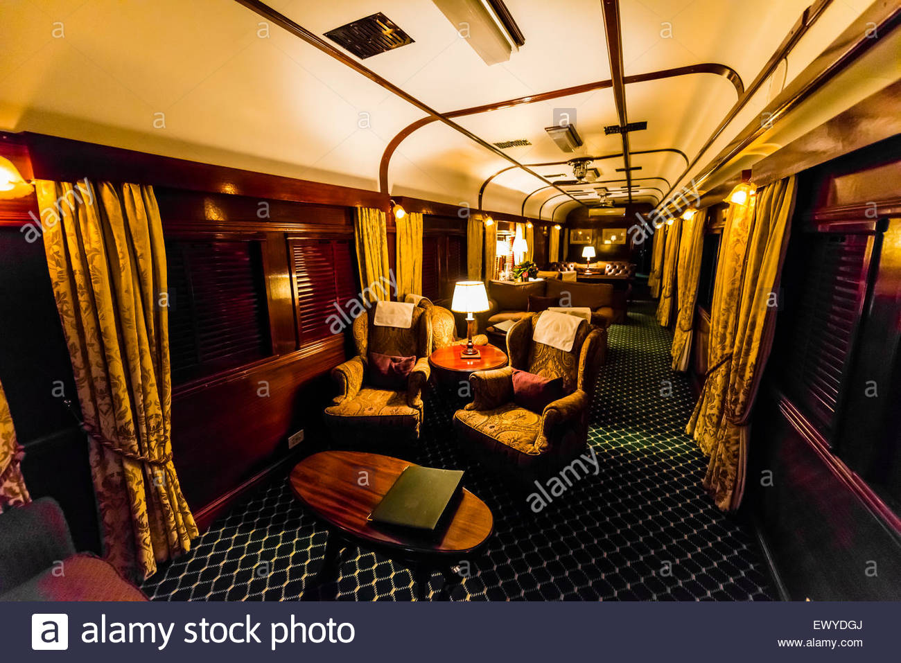 Lounge car on the luxury Rovos Rail train between Pretoria and Cape Town, South Africa. - Stock Image