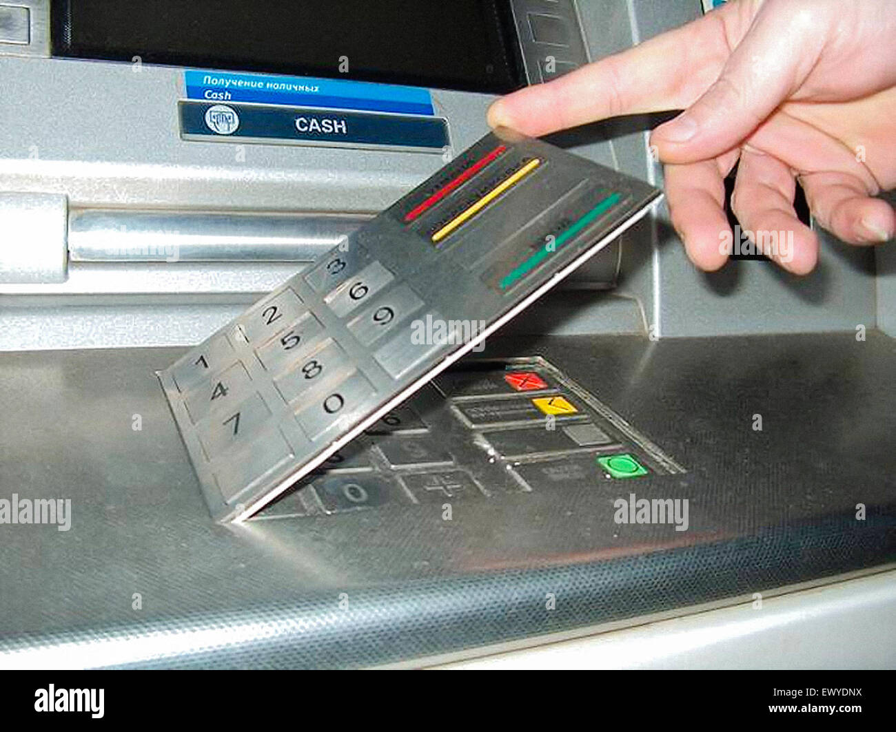 atm For On Alamy - Skimming Card Cash Used Keyboard Overlay Photo False Machine 84811382 Stock