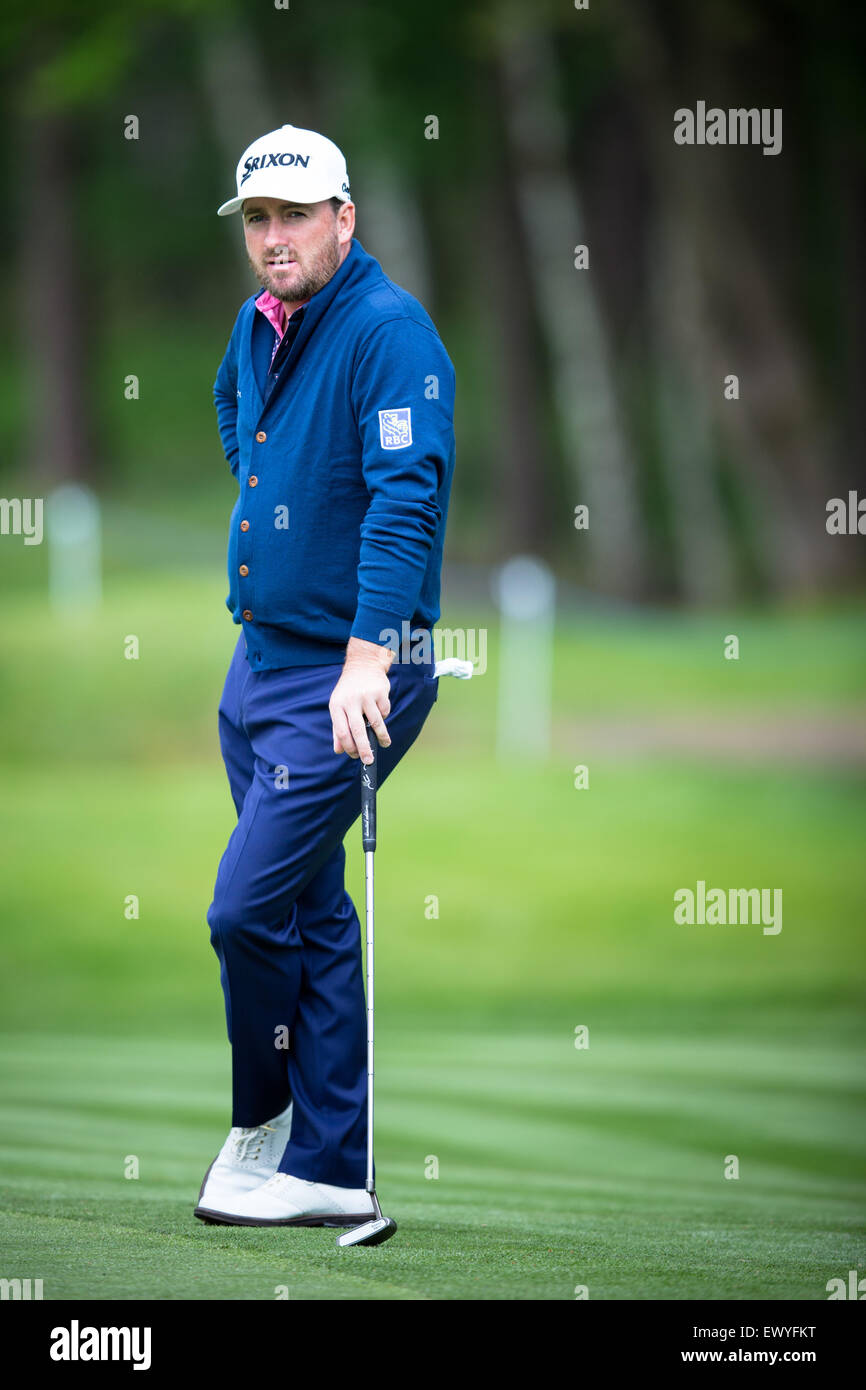 Graeme McDowell during the Pro-Am ahead of the BMW PGA Championship at Wentworth on May 20, 2015. - Stock Image