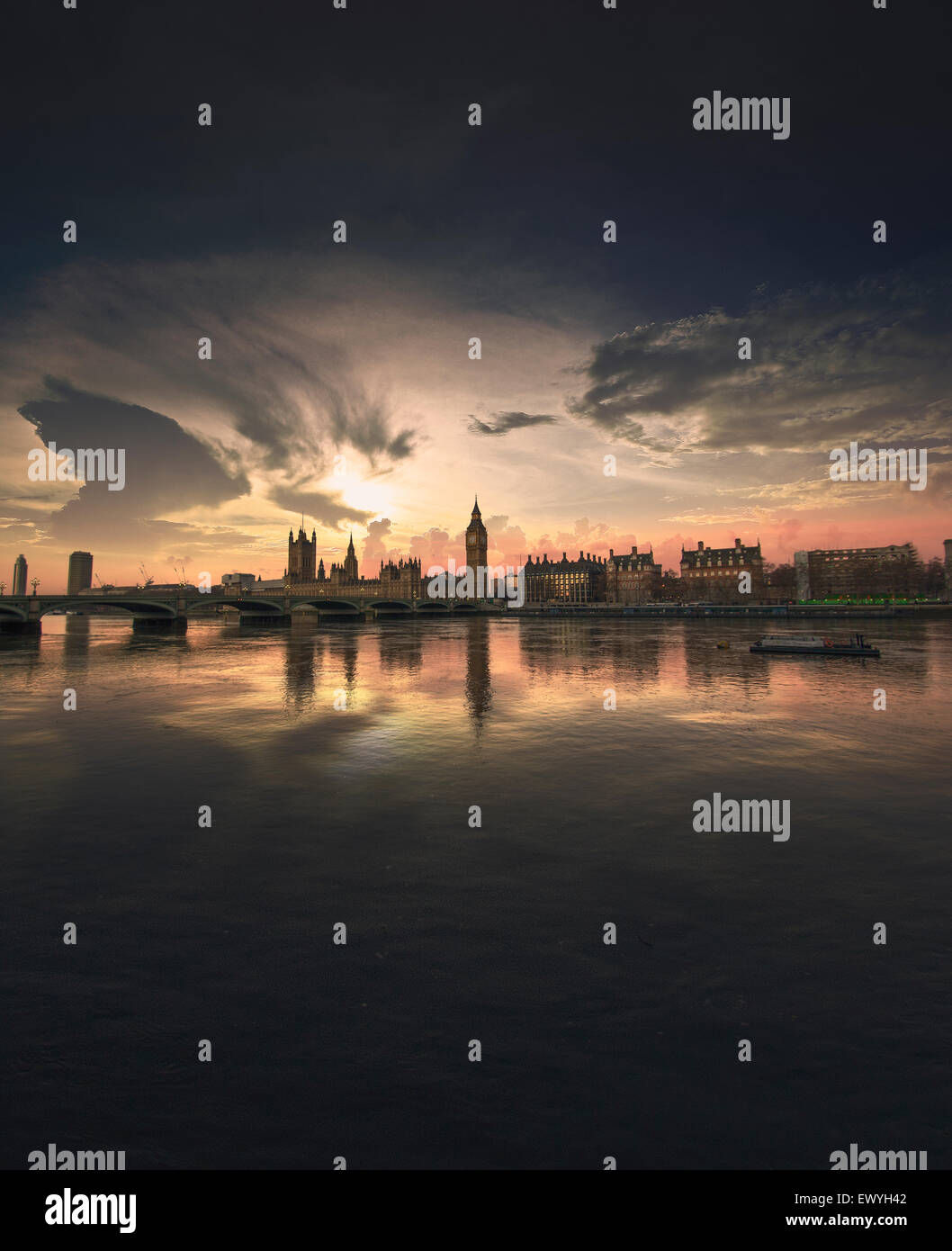 Westminster Sunset, London, UK - Stock Image