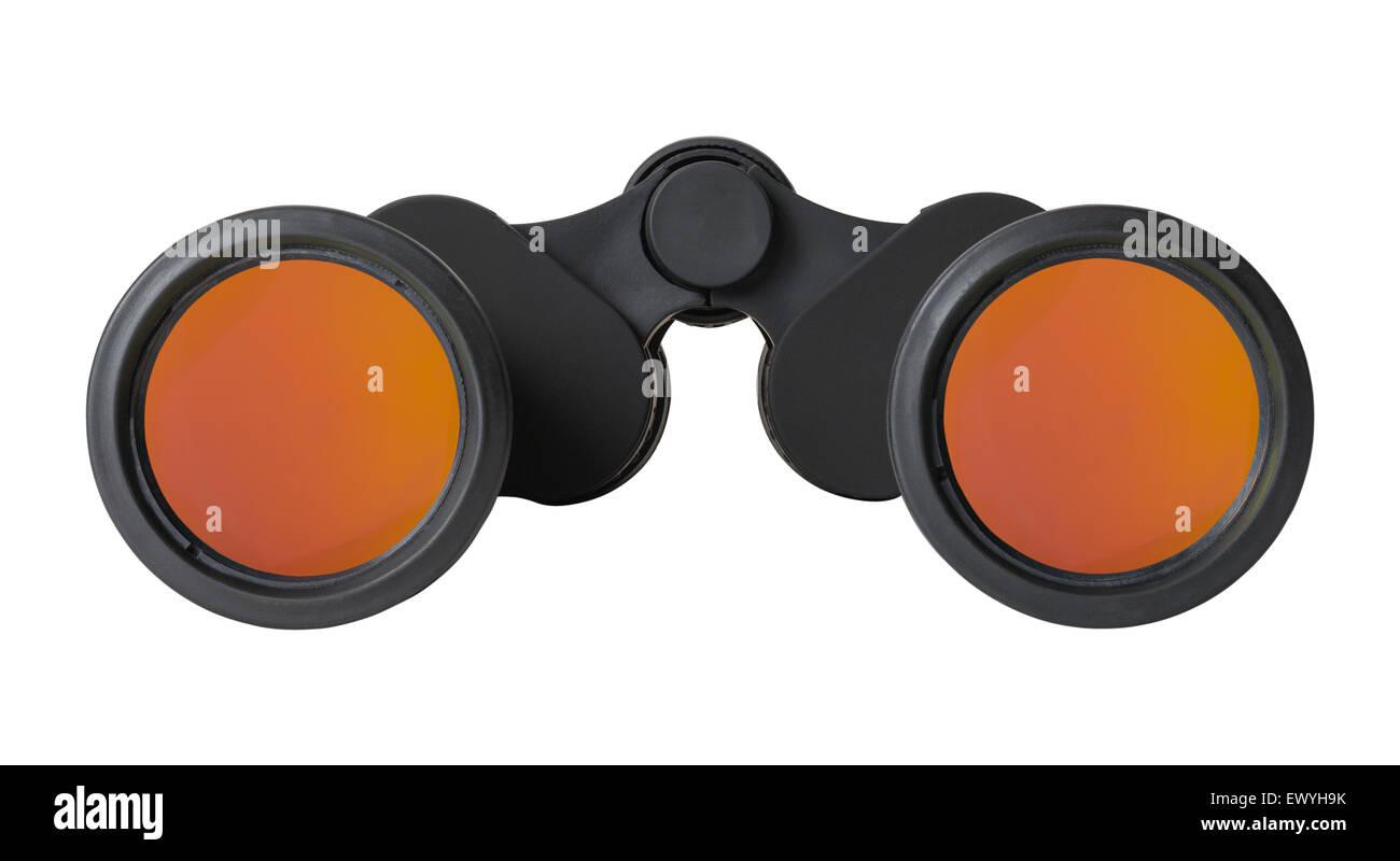 Pair of Black Binoculars with Orange Anti Glare Lens Isolated on White Background. - Stock Image