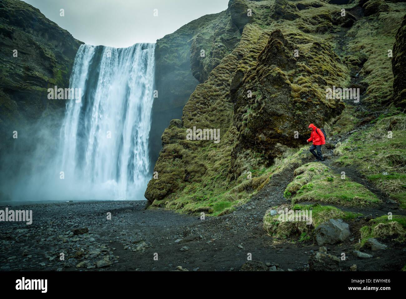 Man hiking, Skogafoss, Iceland - Stock Image