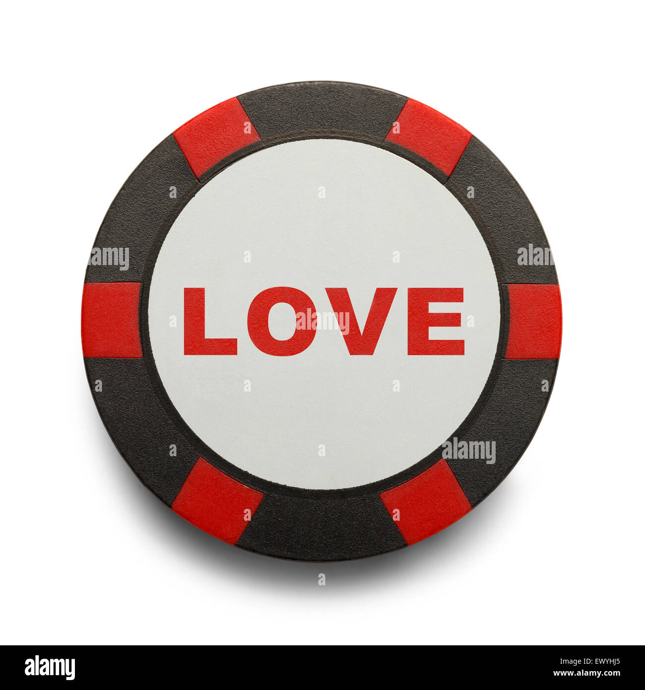 Love is a Gamble Casino Chip Isolated on White Background. - Stock Image