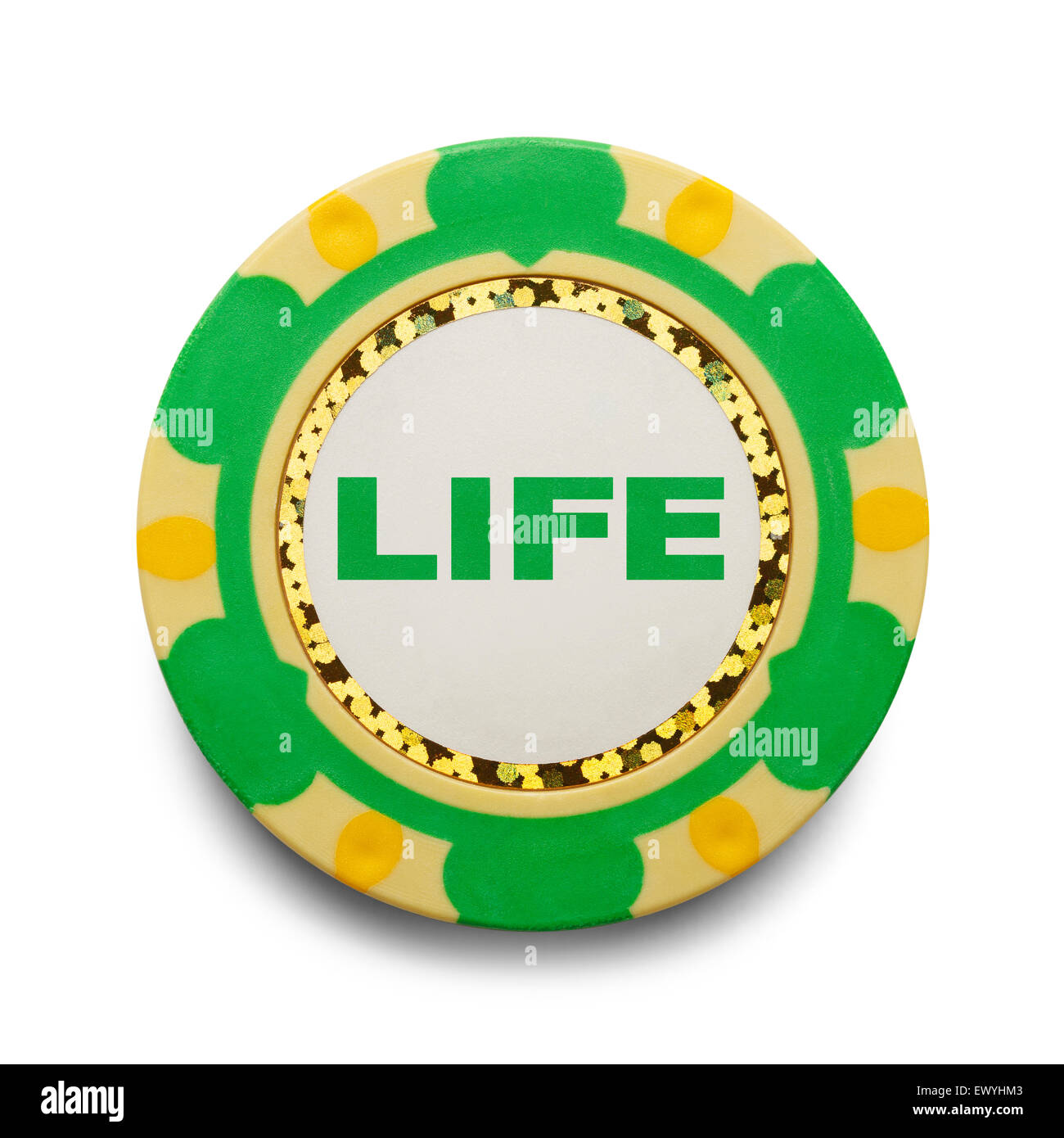 Risking Life Gambling Poker Chip Isolated on White Background. - Stock Image