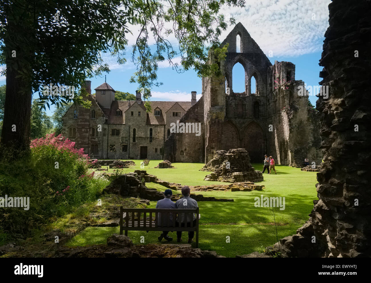 The ruins of Wenlock Priory at Much Wenlock, Shropshire, England under the care of English Heritage. - Stock Image