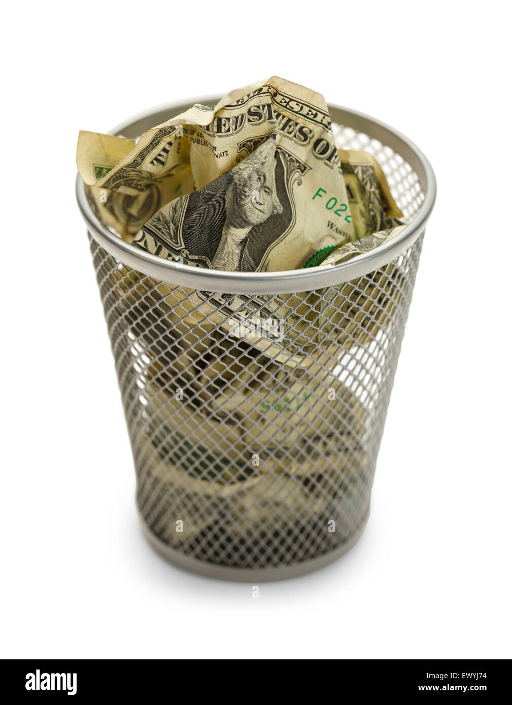 Waste Basket Full of Money Isolated on White Background. - Stock Image