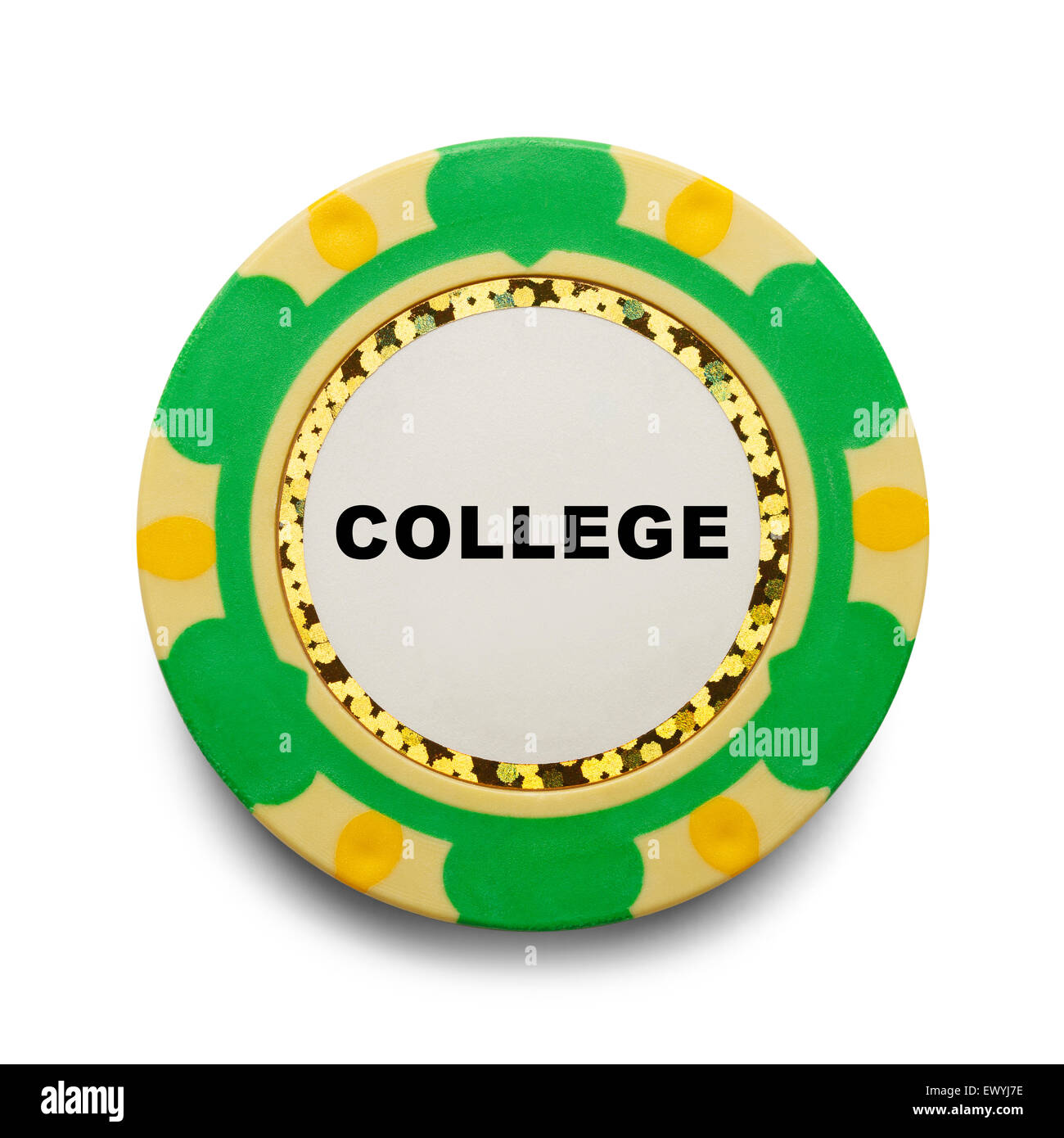 College Casino Chip Gamble Isolated on White Background. - Stock Image