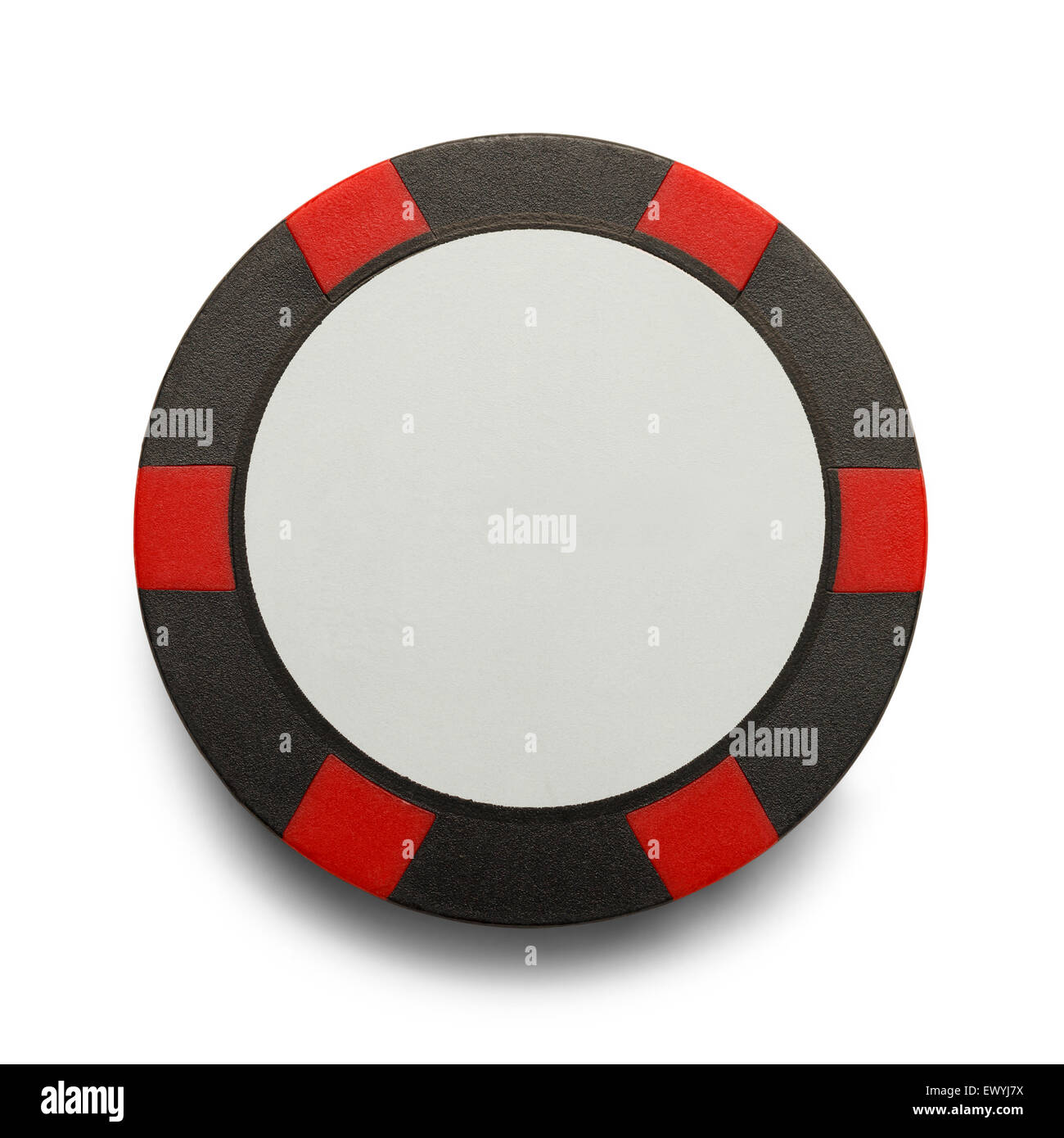 Checkered Poker Chip with Copy Space Isolated on White Background. - Stock Image