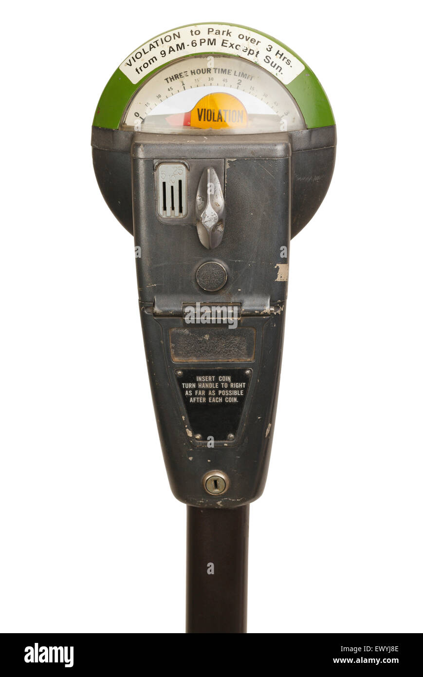 Old Violation Parking Meter Isolated on White Background. Stock Photo