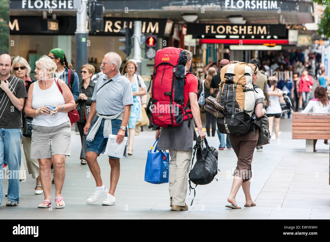 Backpackers in centre of Auckland.Auckland,New Zealand - Stock Image