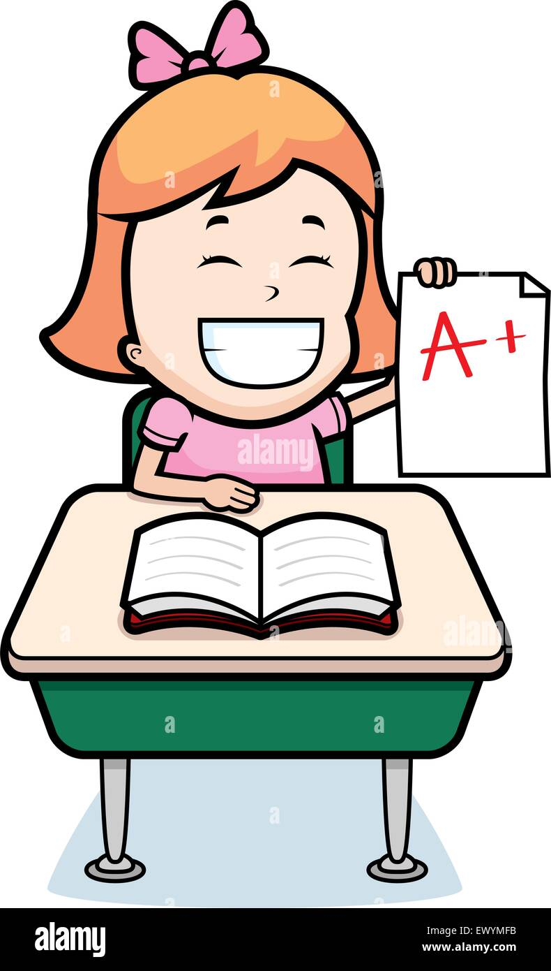 a happy cartoon student with good grades