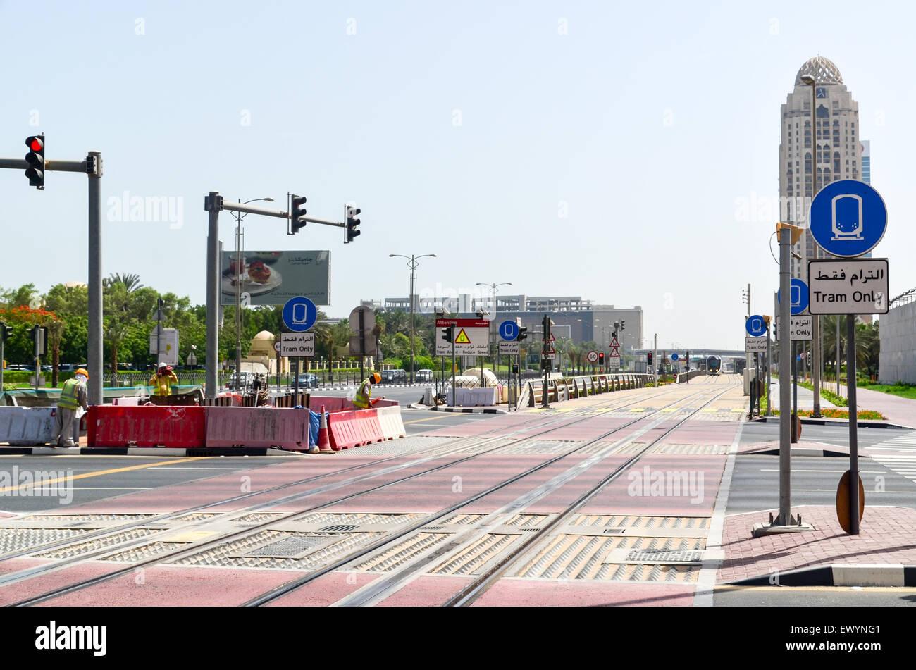 Tramway rails in Dubai, UAE - Stock Image