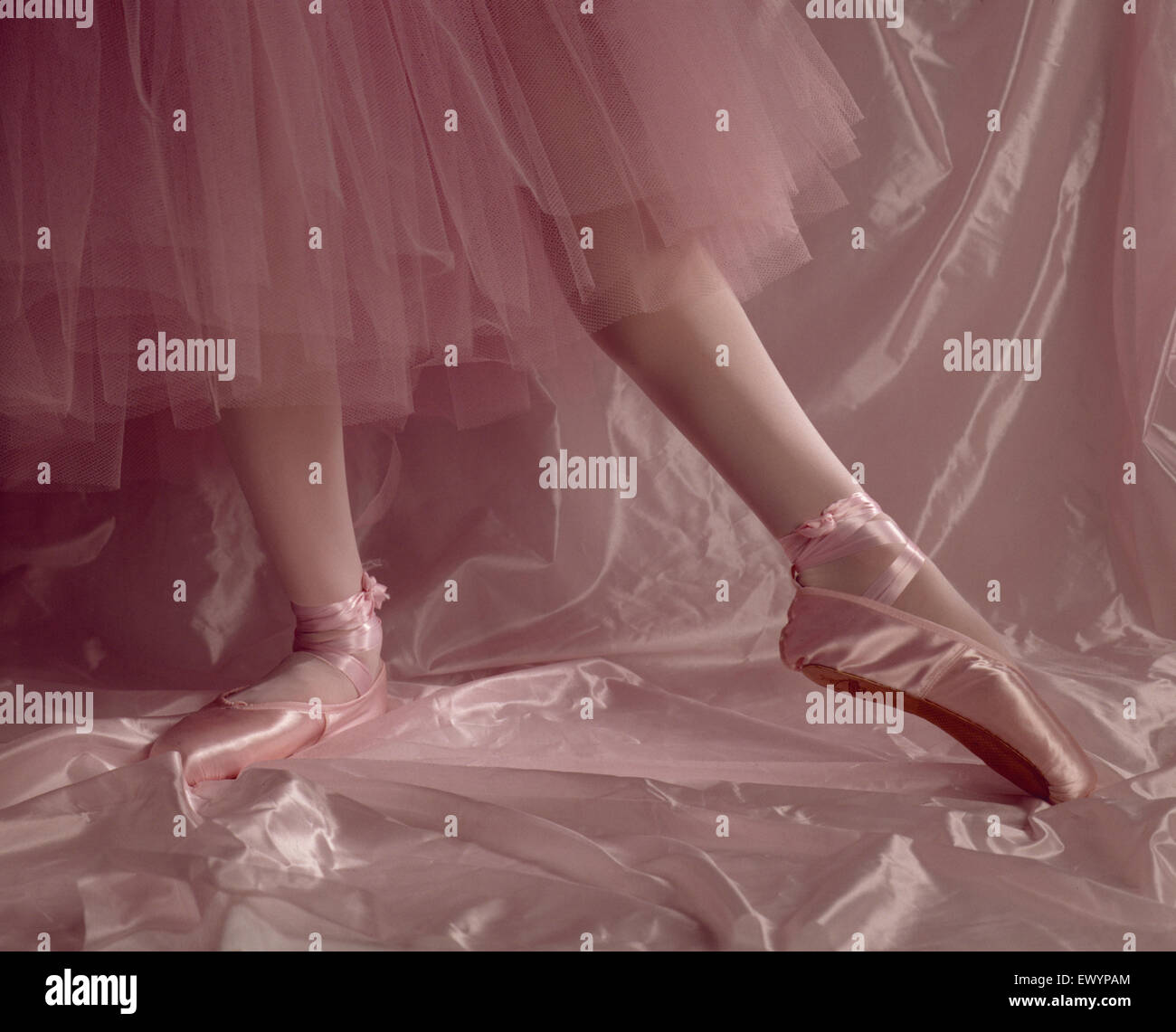 Legs of a ballet dancer, wearing toe shoes, in pink tights and tutu, on a pink background. - Stock Image