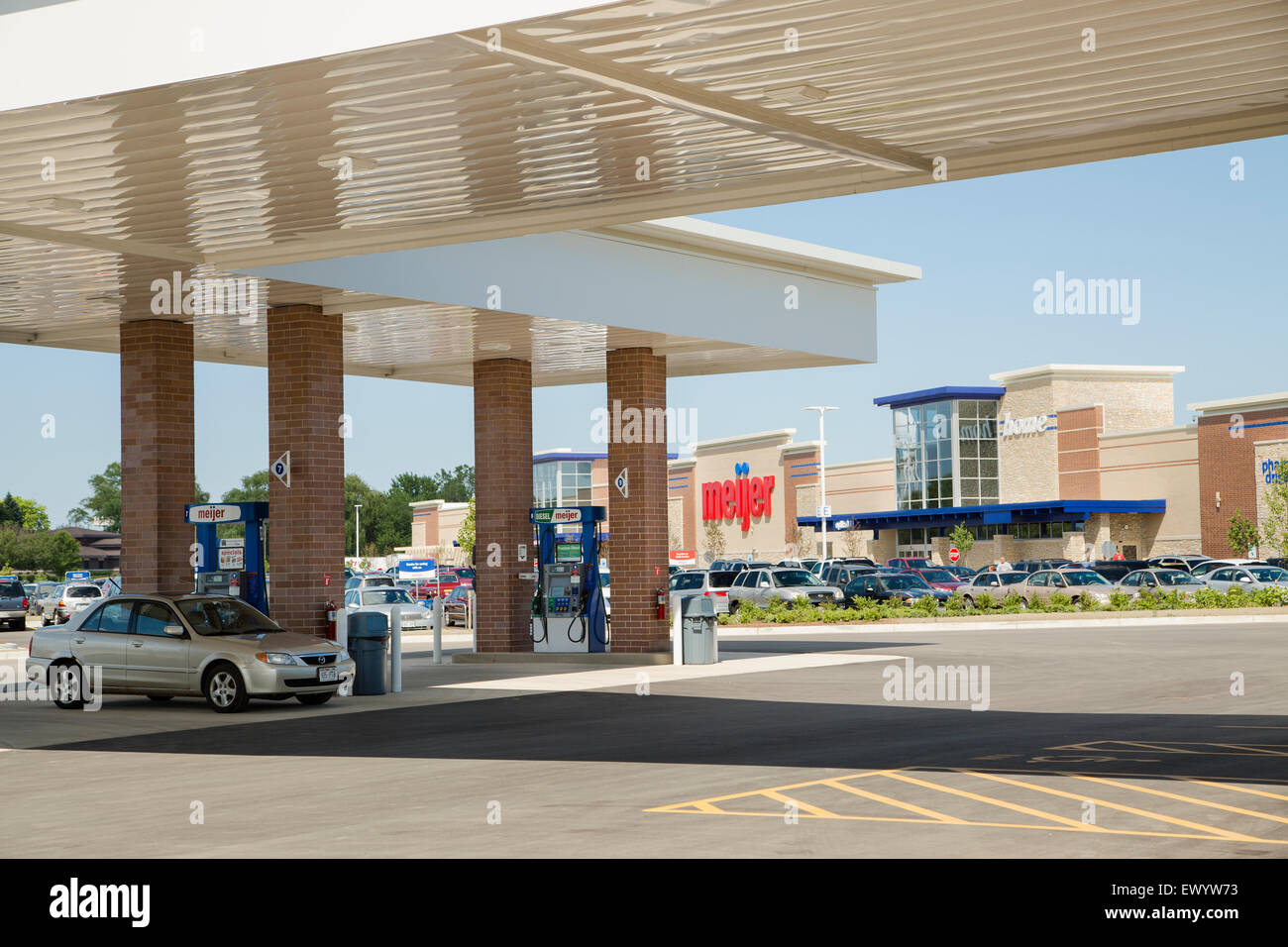A Meijer supermarket grocery store chain store with a gas station in Wisconsin. - Stock Image