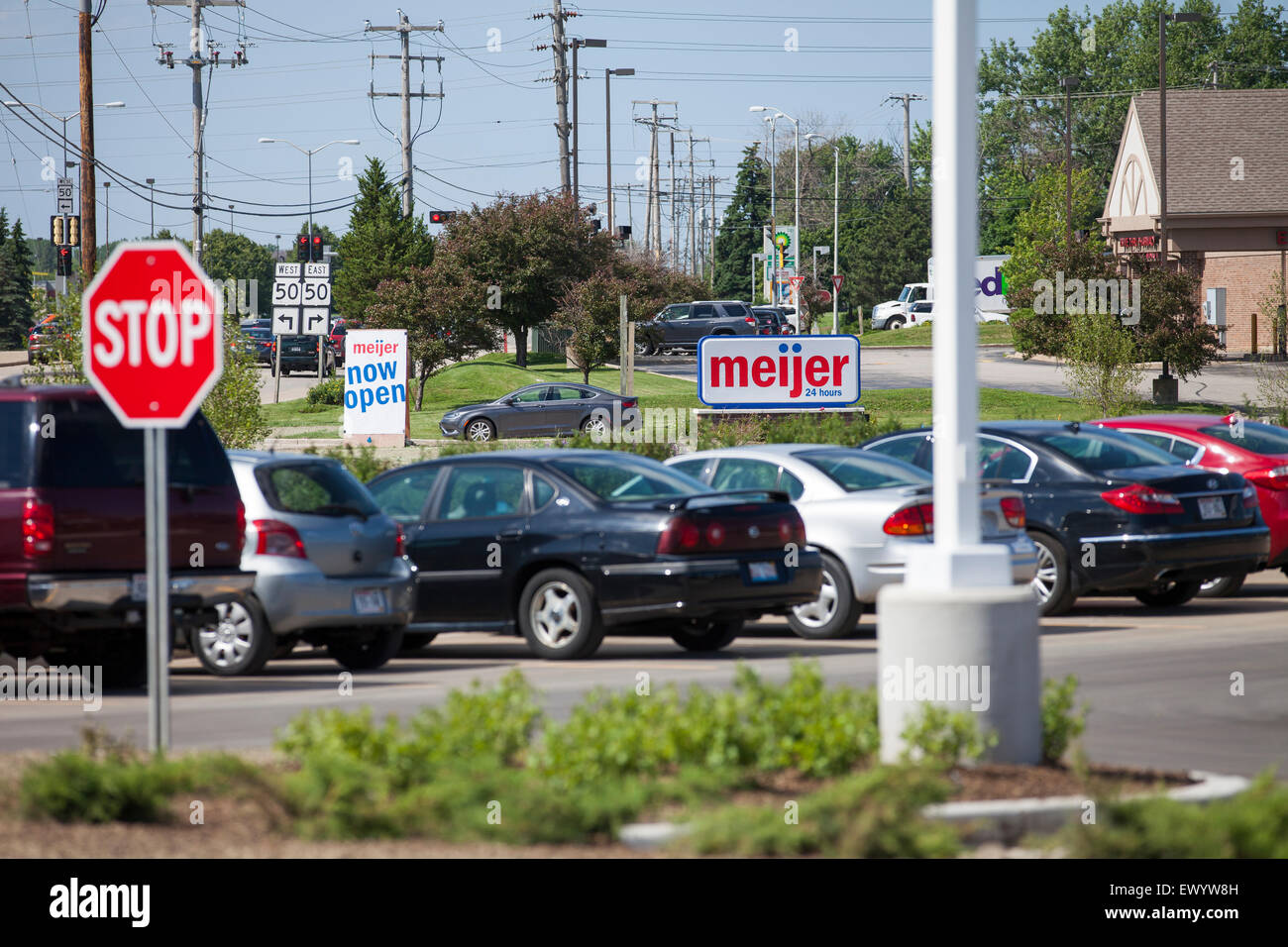 A Meijer supermarket grocery store chain store in Wisconsin. Meijer stores are family owned and operate in the Midwest. - Stock Image