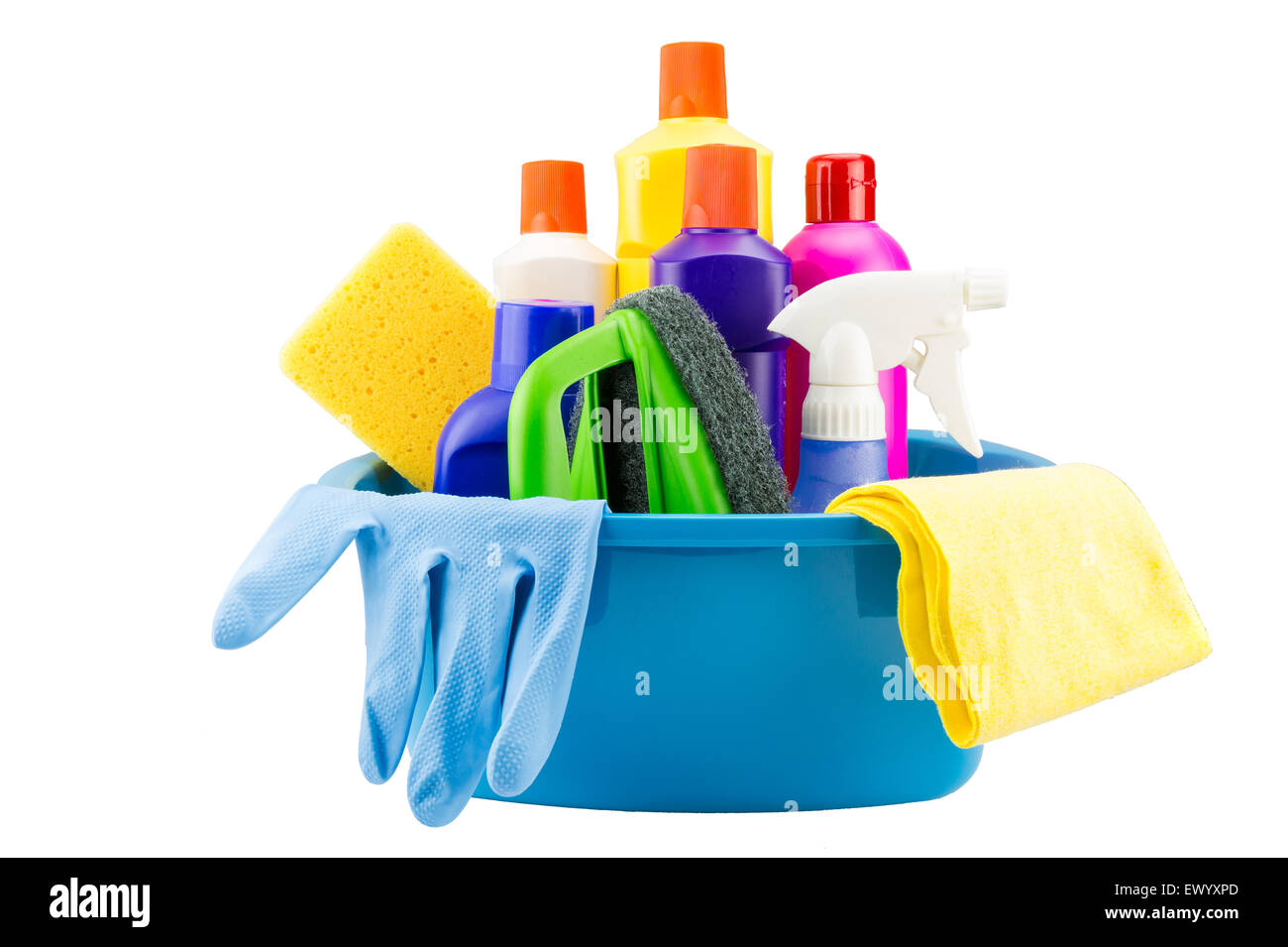 Cleaning tools in blue bucket on white background (Isolated) - Stock Image