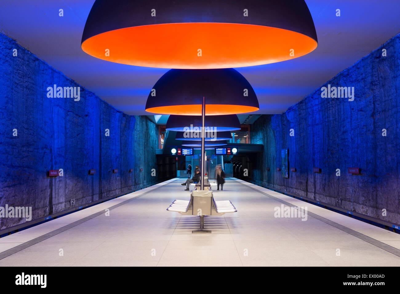 Metro Station Westfriedhof, Munich, Bavaria, Germany - Stock Image