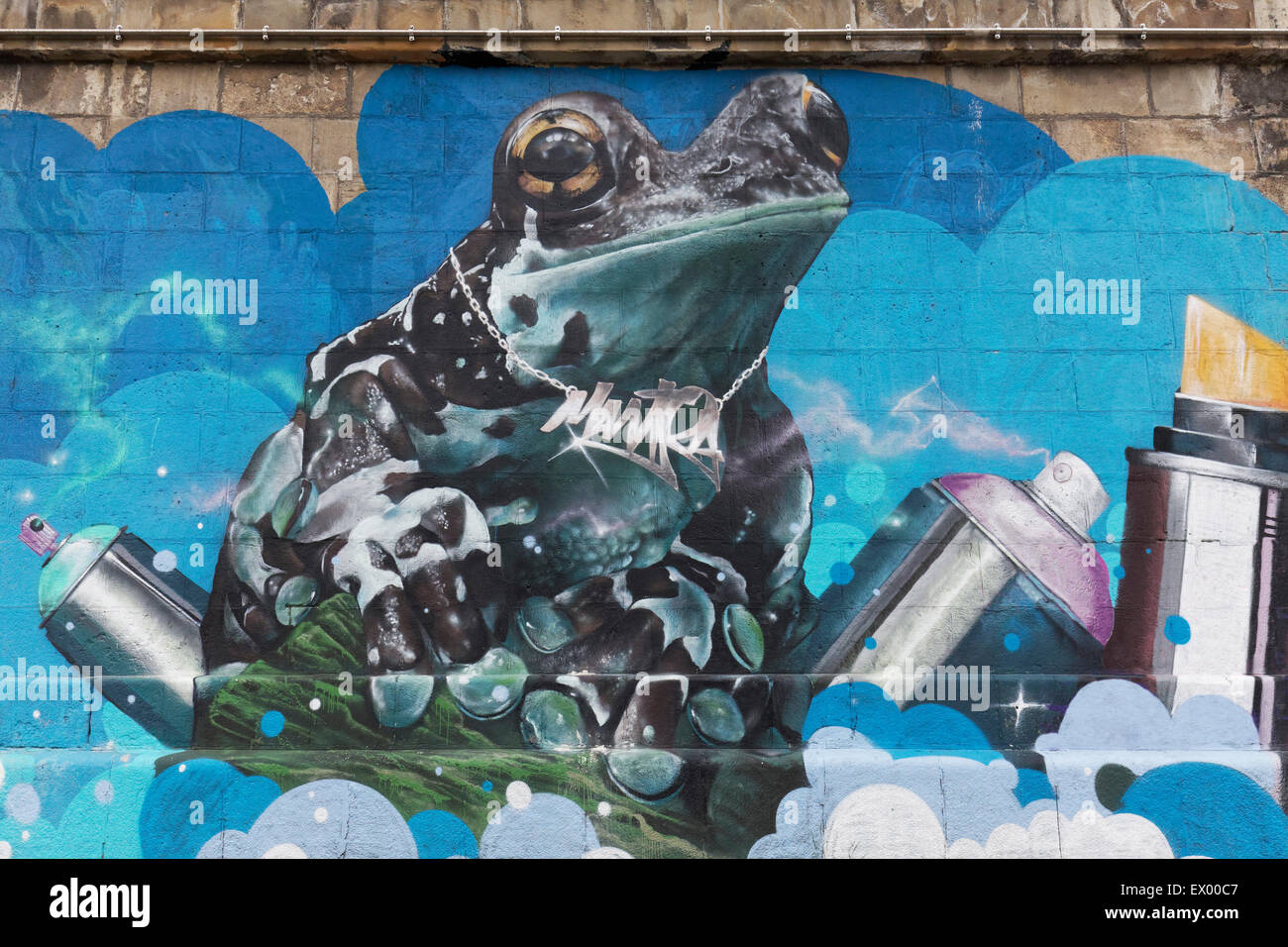 Frog with spray cans, graffiti, Danube Canal, Vienna, Austria Stock Photo