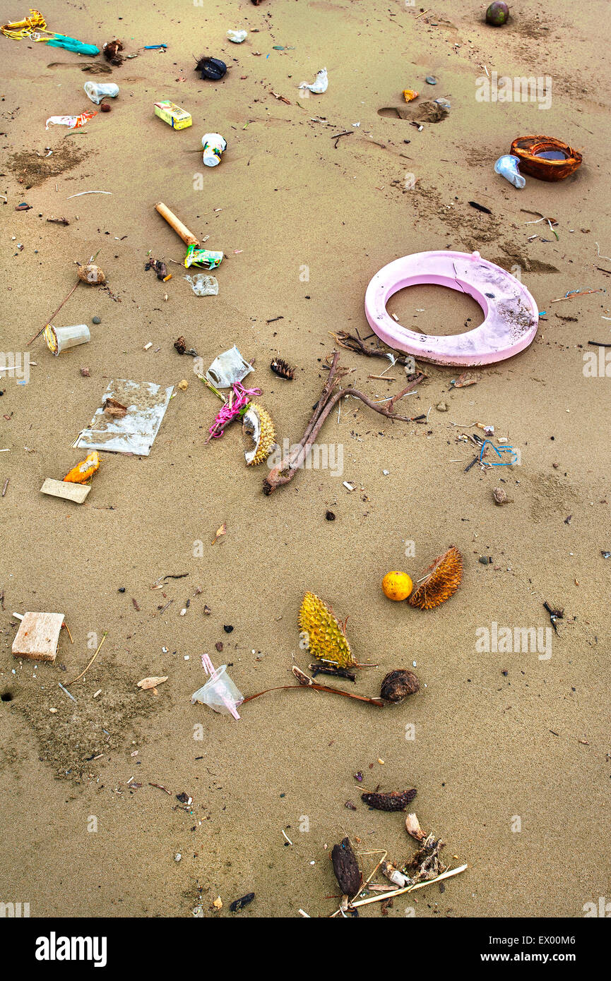 Trash on the beach, Laha Ambon, Maluku, Indonesia - Stock Image