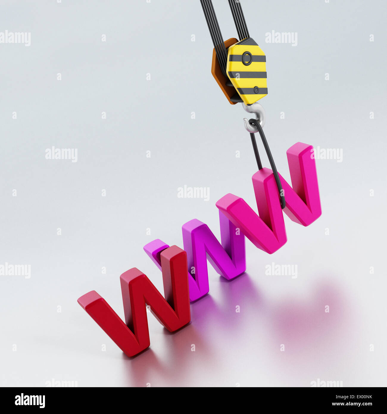 Crane carrying www letters representing website construction - Stock Image