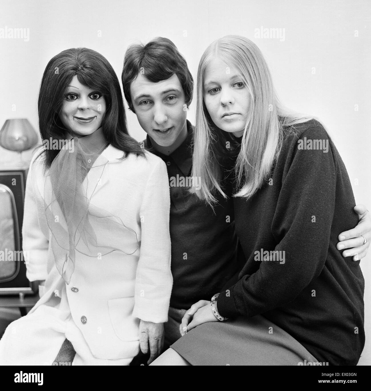 Keith Harris, young ventriloquist aged 20 years old, pictured with dummy called Minnie and girlfriend Jennifer Crompton, - Stock Image