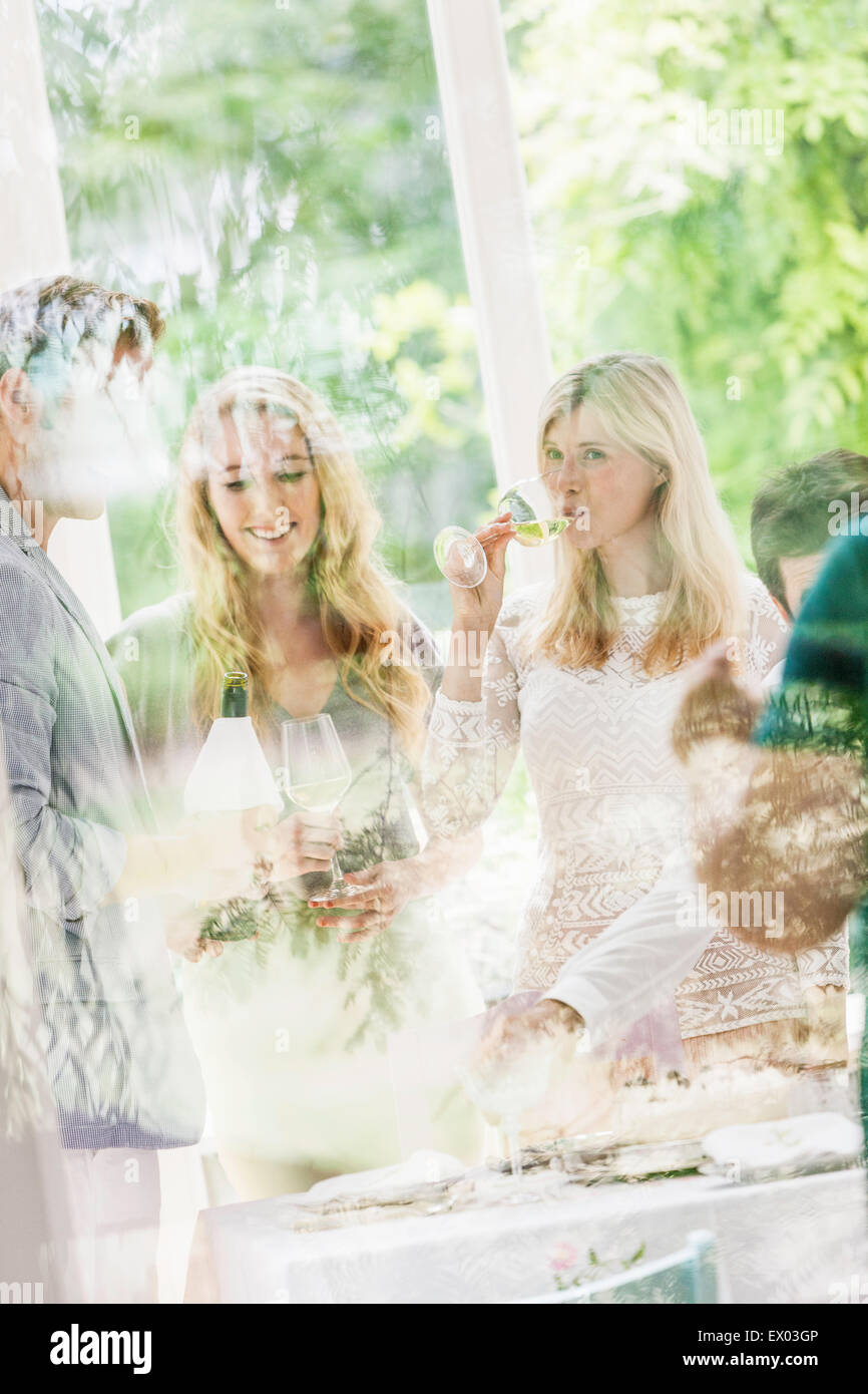 Looking through window at family party in dining room - Stock Image