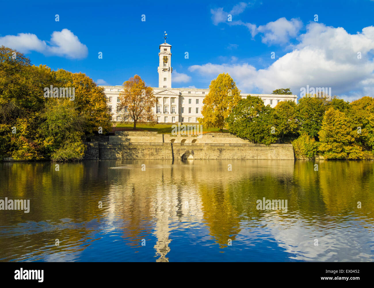 Trent Building and Highfields lake Nottingham University Park Nottingham Nottinghamshire England UK GB EU Europe - Stock Image