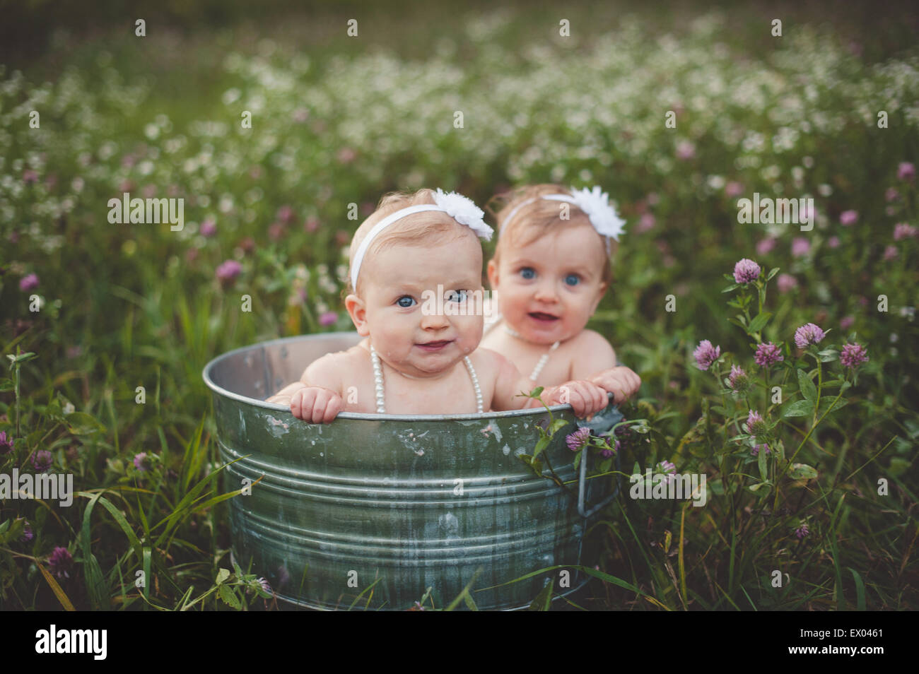 Portrait of baby twin sisters bathing in a tin bathtub in a wild flower meadow Stock Photo