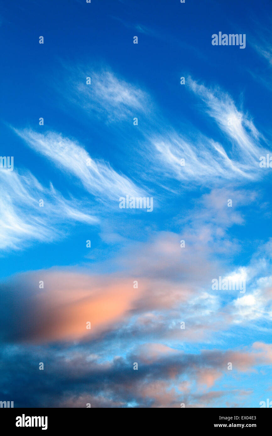 Wispy Cloud Formations at Dusk Amble by the Sea Northumberland England Stock Photo