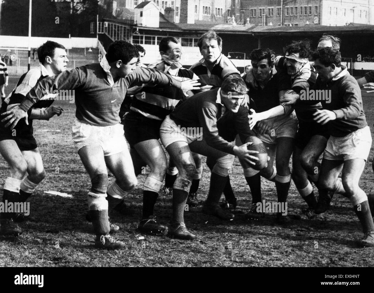 Brian Butler, Llanelli forward, wins the ball back, 26th February 1968.Stock Photo