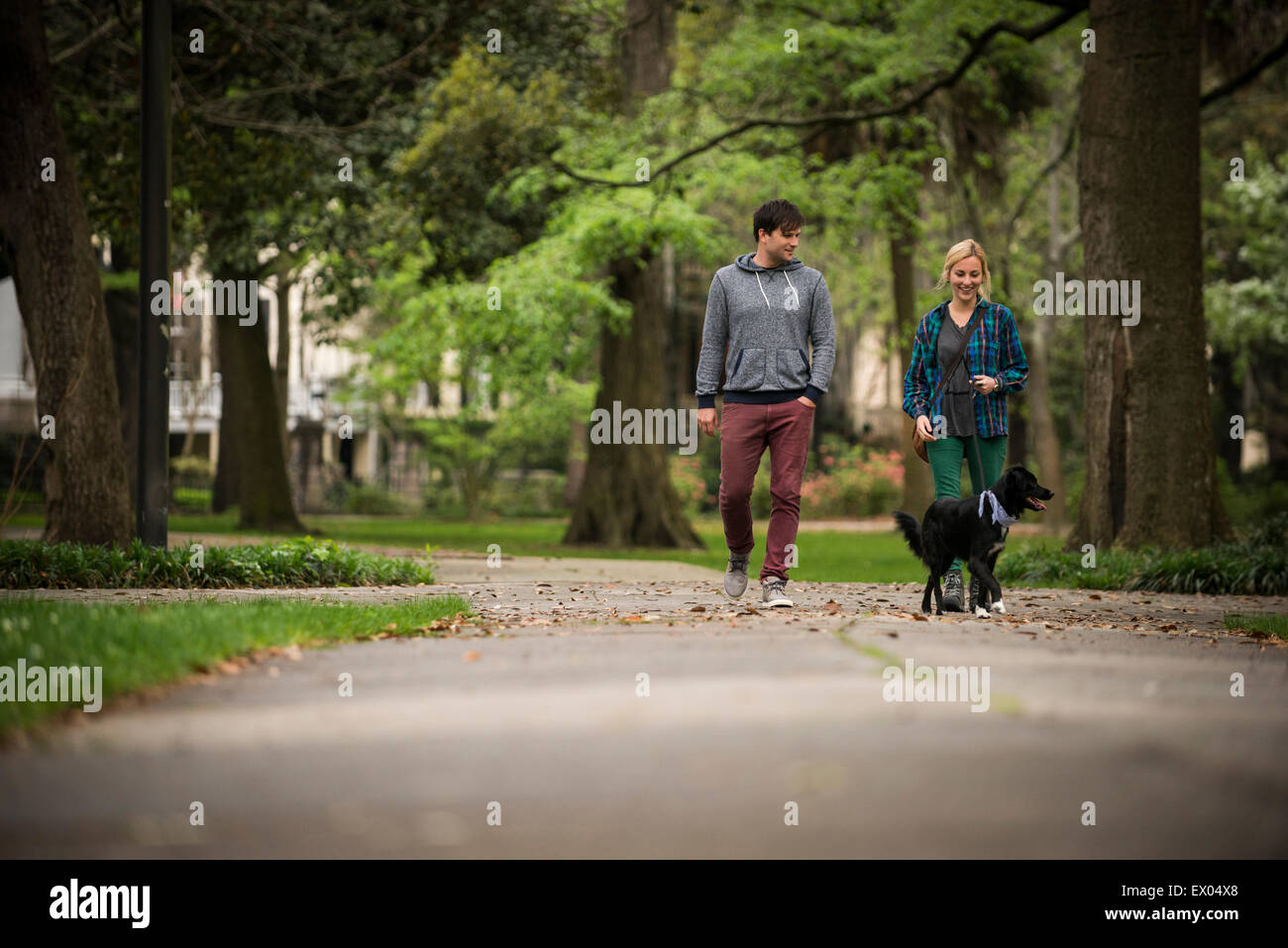 Couple walking dog in park, Savannah, Georgia, USA - Stock Image