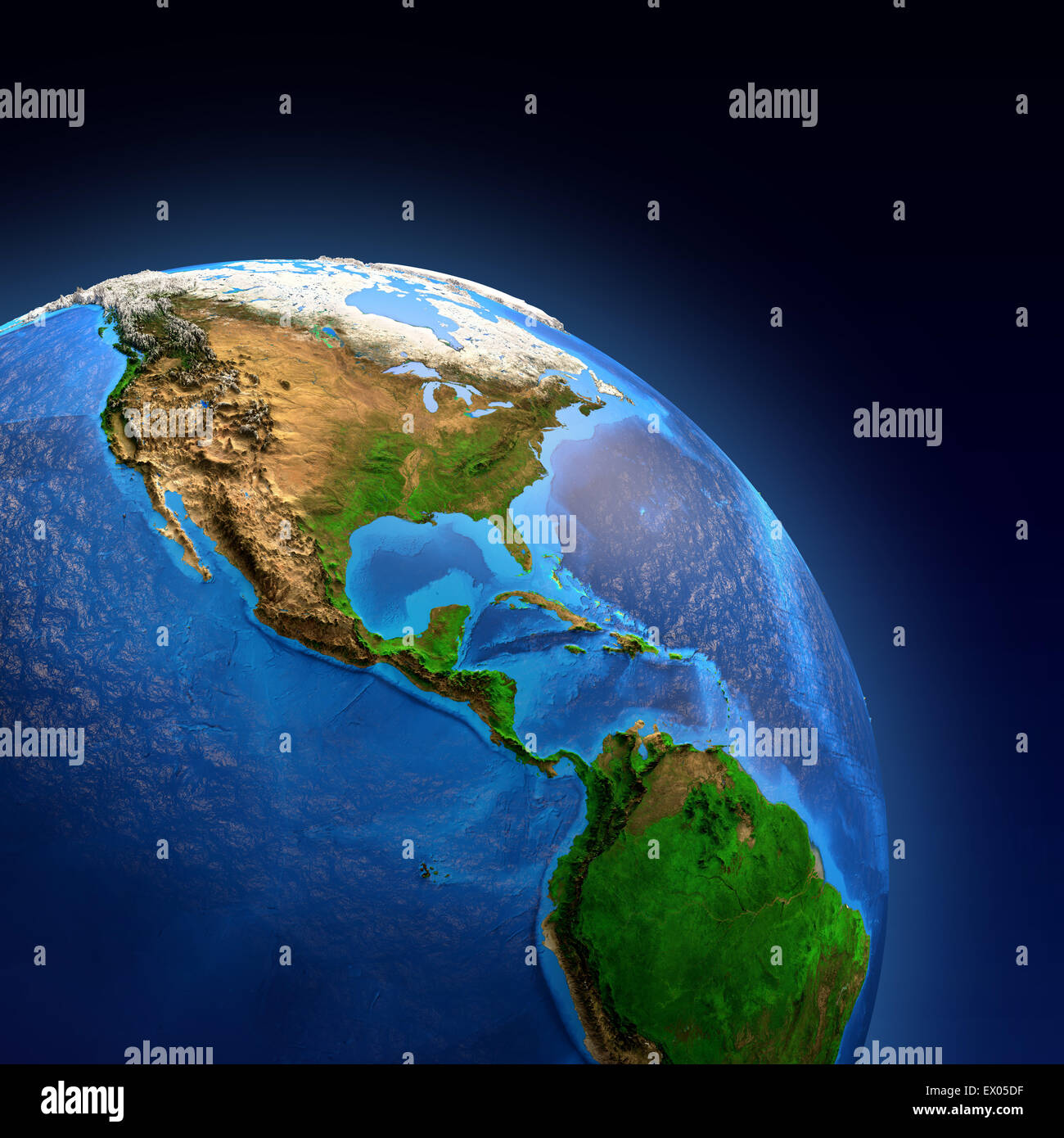 Detailed Picture Of The Earth And Its Landforms View Of American Continent Ex Df