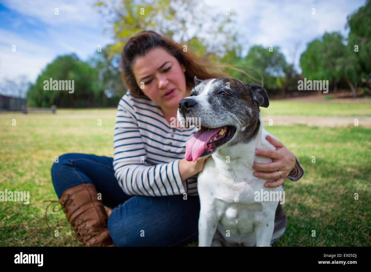 Mature woman petting old dog in park - Stock Image