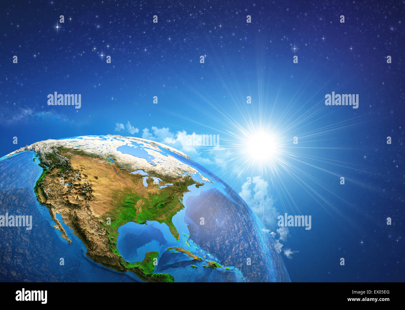 Rising sun over the Earth and its landforms, view of the United States of America. Elements of this image furnished - Stock Image