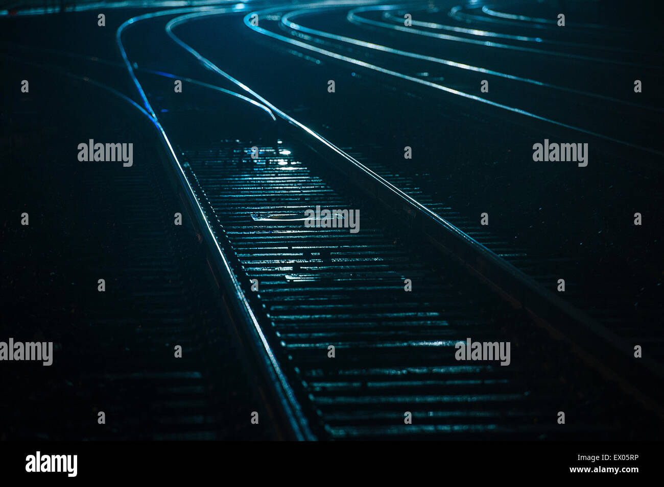 Train tracks at night, Seattle, USA Stock Photo
