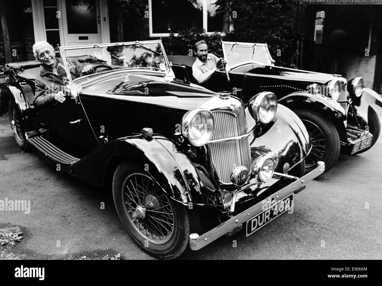 Riley Lynx sports car owners (left to right) Mr Wiles and Mr Cox. 23rd July 1985. - Stock Image