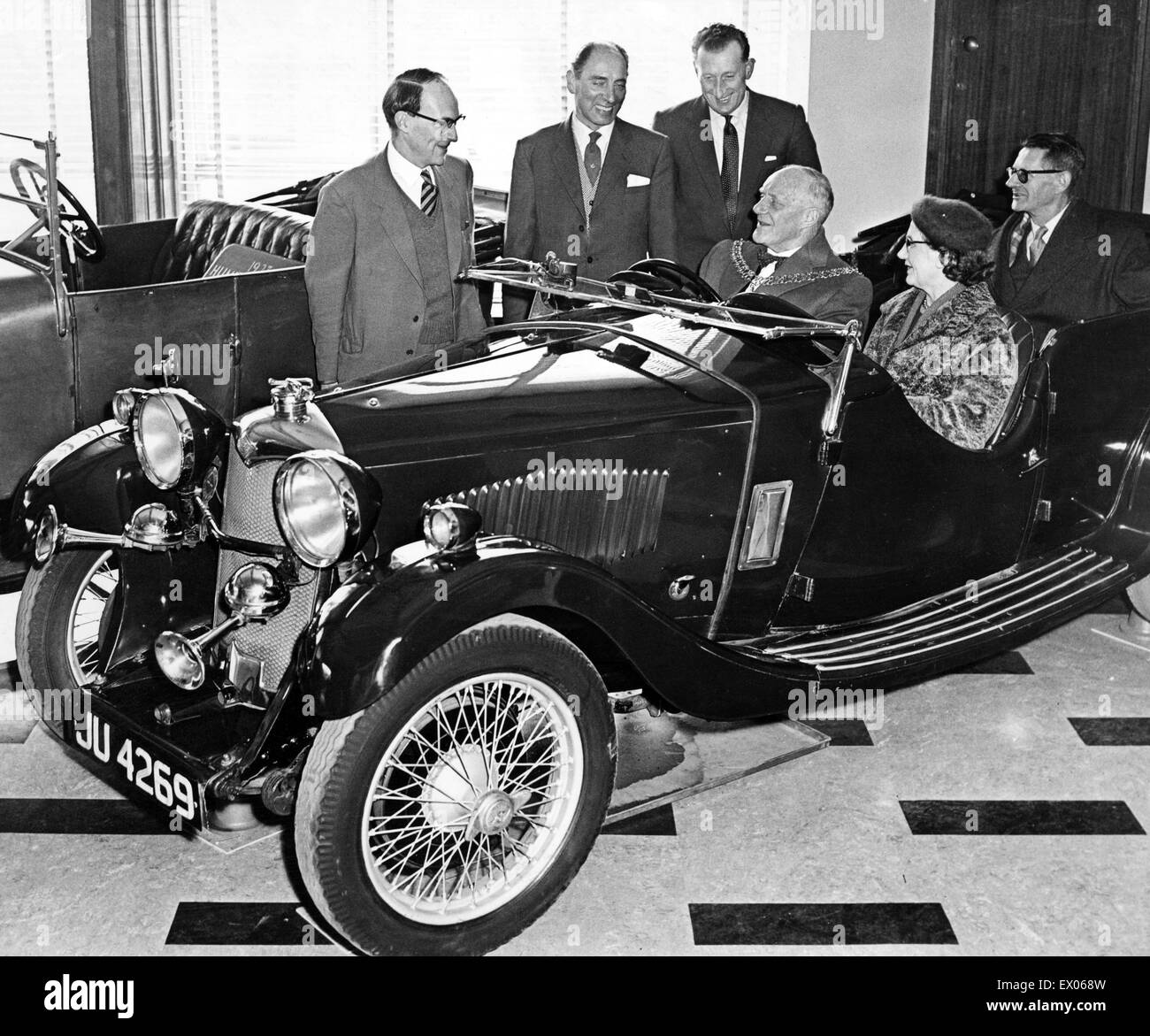 A 1933 Riley car presentation to the Herbert Art Gallery and Museum by Mr C Adams and Mr A Walters, partners in - Stock Image