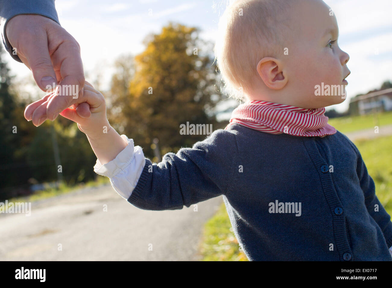 Baby girl toddling on rural road holding fathers hand - Stock Image