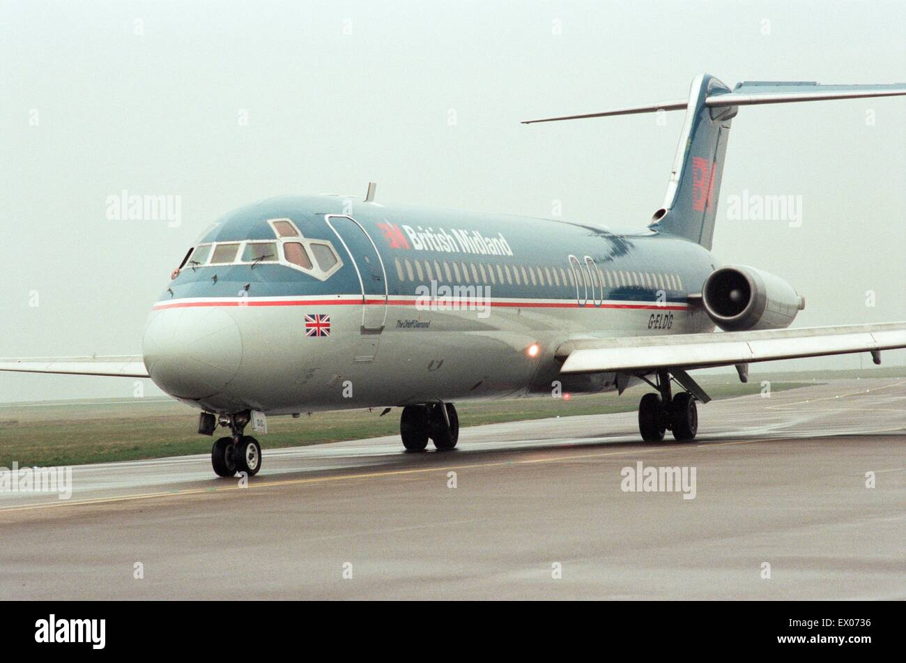 British Midland operated a commemorative flight to Teesside Airport to mark its last DC9 leaving the fleet. On the - Stock Image