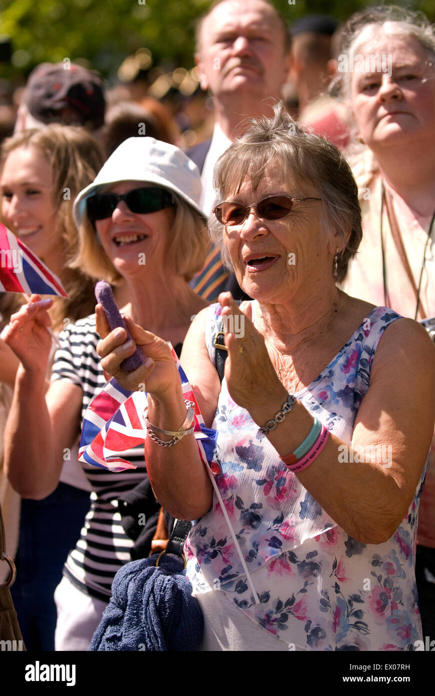 Displays of patriotism from the crowd at the Farewell to the Garrison Festival, Bordon, Hampshire, UK. Saturday - Stock Image