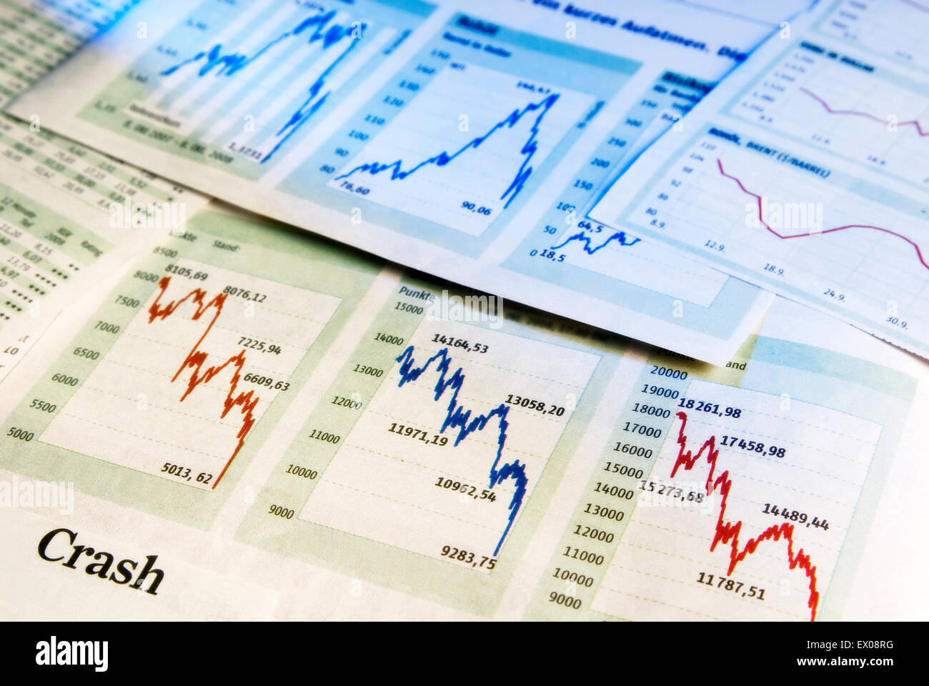 Charts show falling share prices as a symbol for a crash in the stock market. - Stock Image