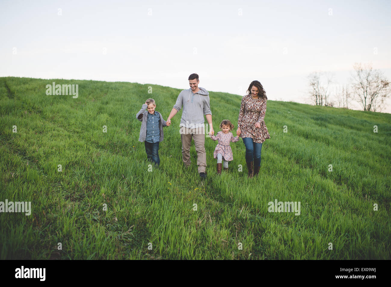 Parents with son and daughter strolling in grassy field Stock Photo