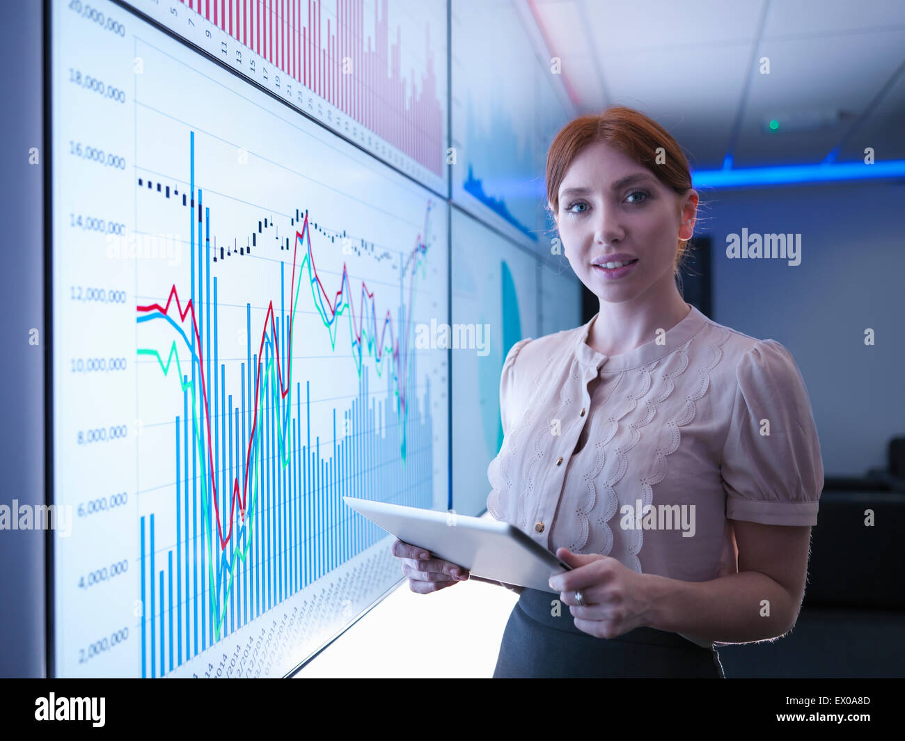 Businesswoman holding digital tablet in front of graphs on screens, portrait - Stock Image