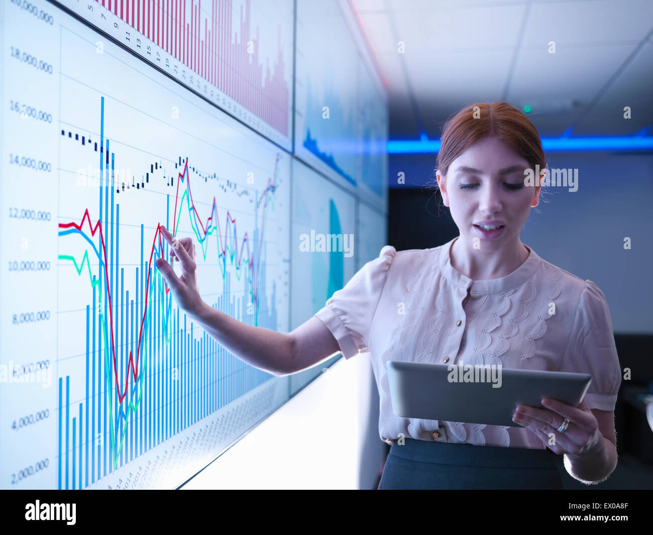 Businesswoman studying graphs on screens with digital tablet - Stock Image
