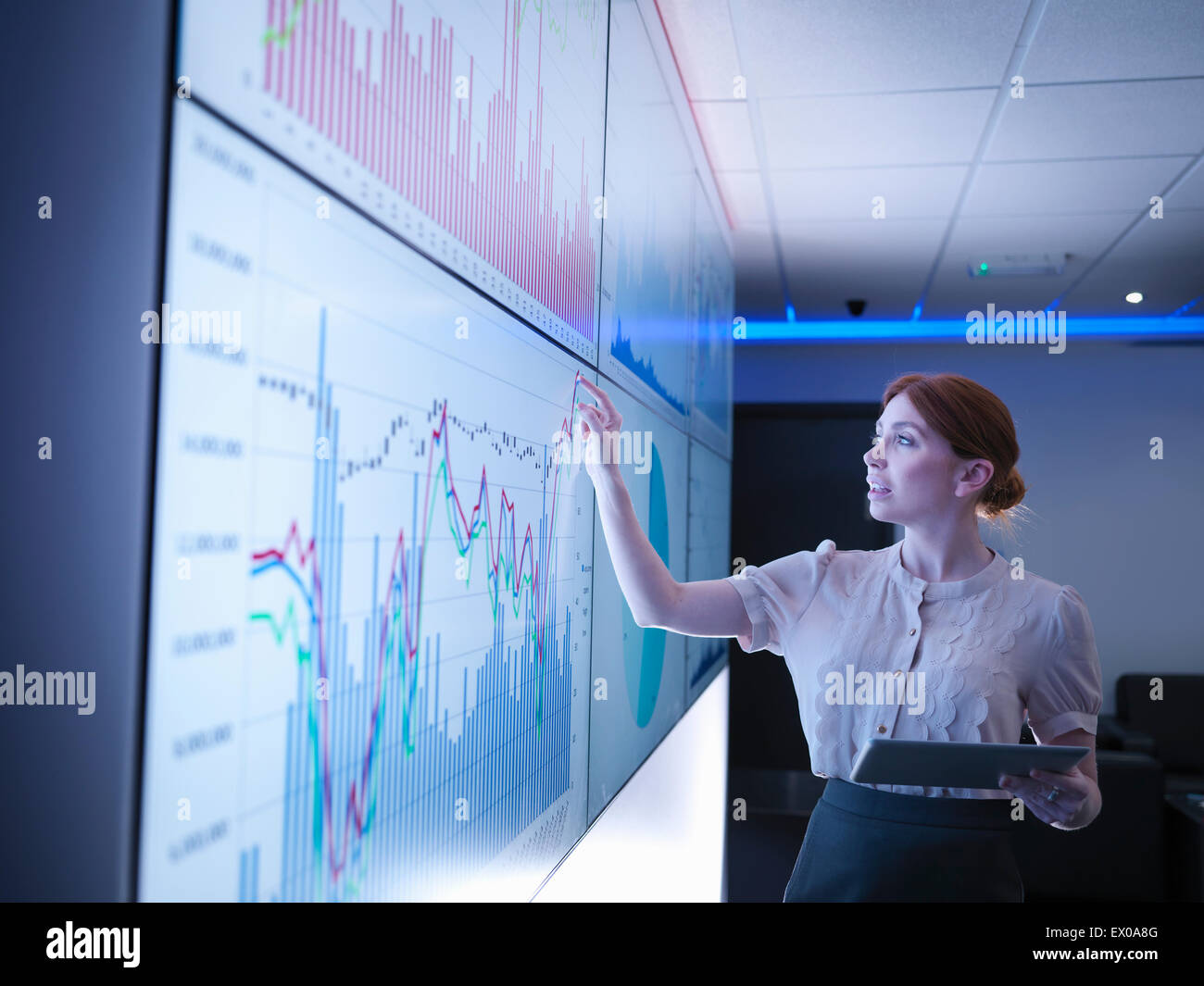 Businesswoman studying graphs on screens - Stock Image