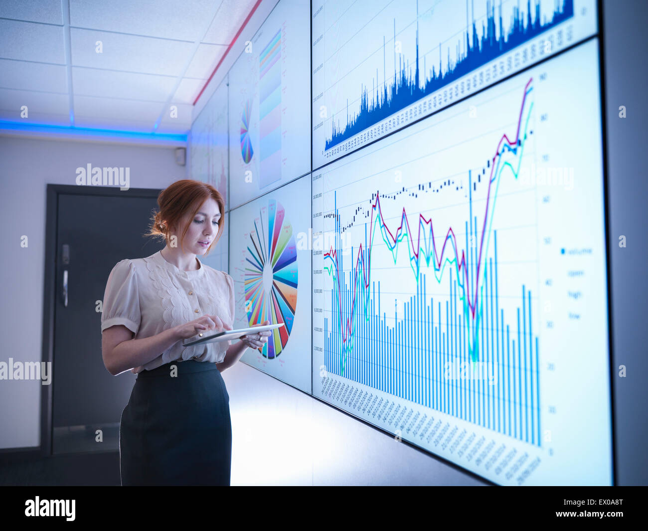 Businesswoman studying graphs on screen with digital tablet - Stock Image