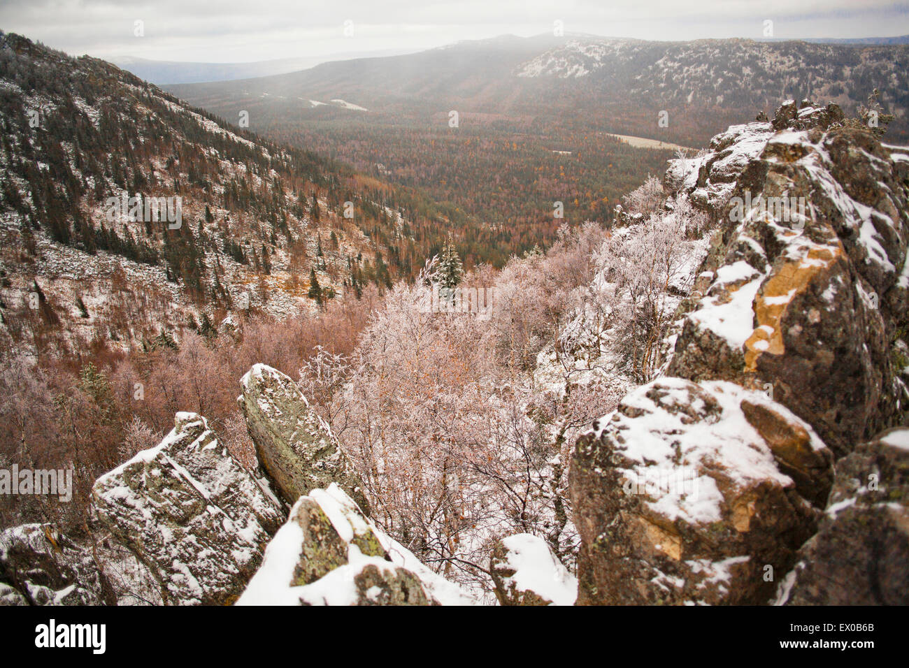 Snow covered rocks and mountains, Sarsy Village, Sverdlovsk Oblast, Russia - Stock Image