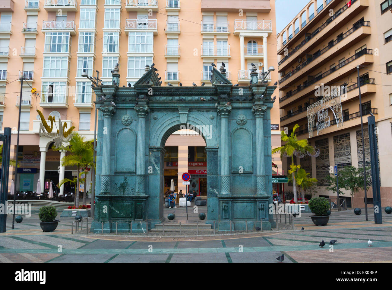 Triumphal arch, Plaza de los Reyes, main square, Ceuta, Spanish enclave inside Morocco, northern Africa - Stock Image