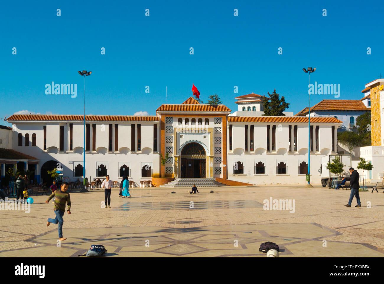 Football game, Plaza Bir Anzaran, new town, Chefchaouen, Chaouen, Morocco, northern Africa - Stock Image