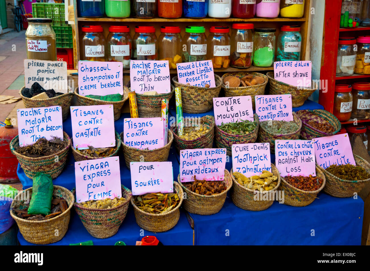 Herbal medicines and remedies, Spice souq, Mellah, Essaouira, Atlantic coast, Morocco, northern Africa - Stock Image